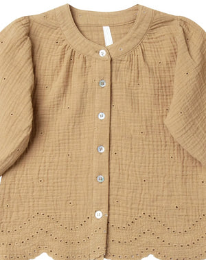 Rylee and Cru Snowbird Meadow Blouse - Eyelet in Honey close up