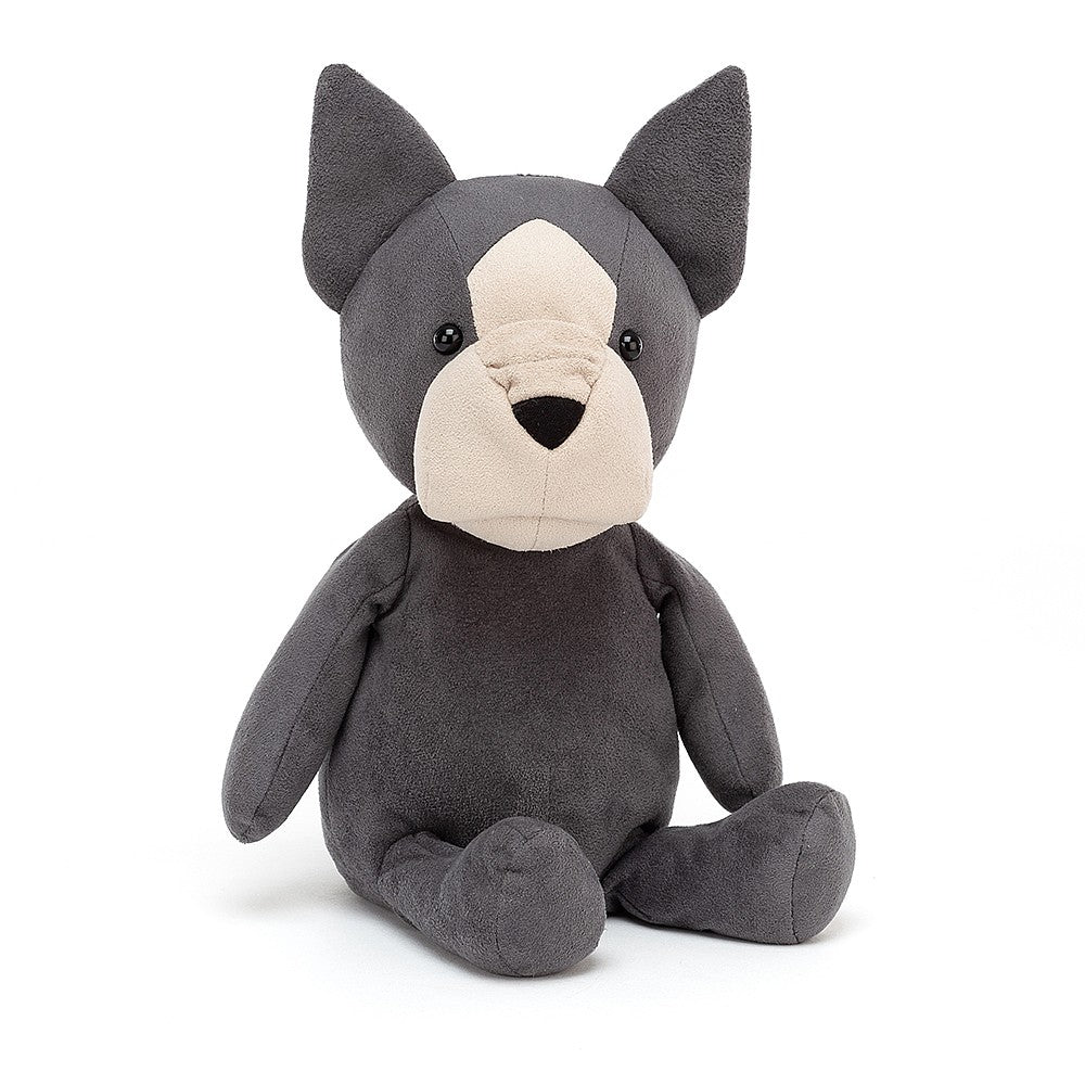 "A sweet little puppy pal in a dark charcoal grey and tan suede. Fido the French Bulldog will be your little boy's or girls next best friend. 10"" stuffed animal toy."