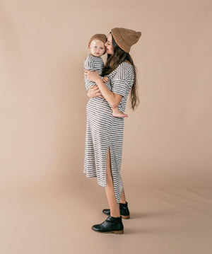 Rylee and Cru Snowbird Boxy Striped Tee in Ivory | Black on baby and mama
