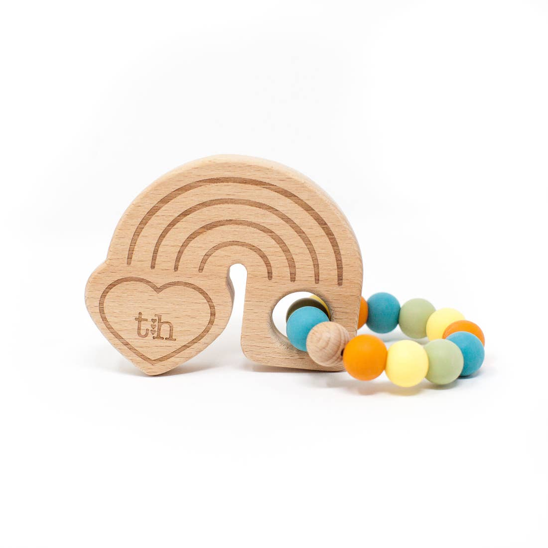Three Hearts | Rainbow Wooden Teether | Aquamarine