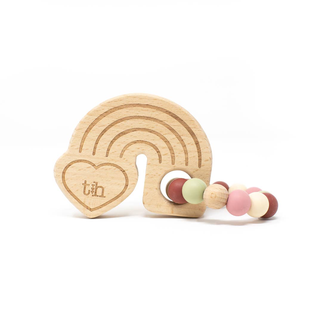 Three Hearts | Rainbow Wooden Teether | Dusty Rose