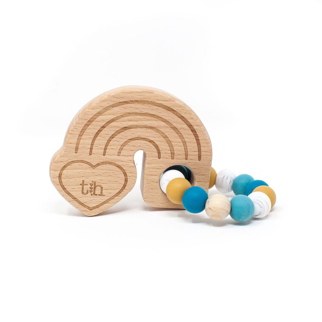 Three Hearts | Rainbow Wooden Teether | Teal
