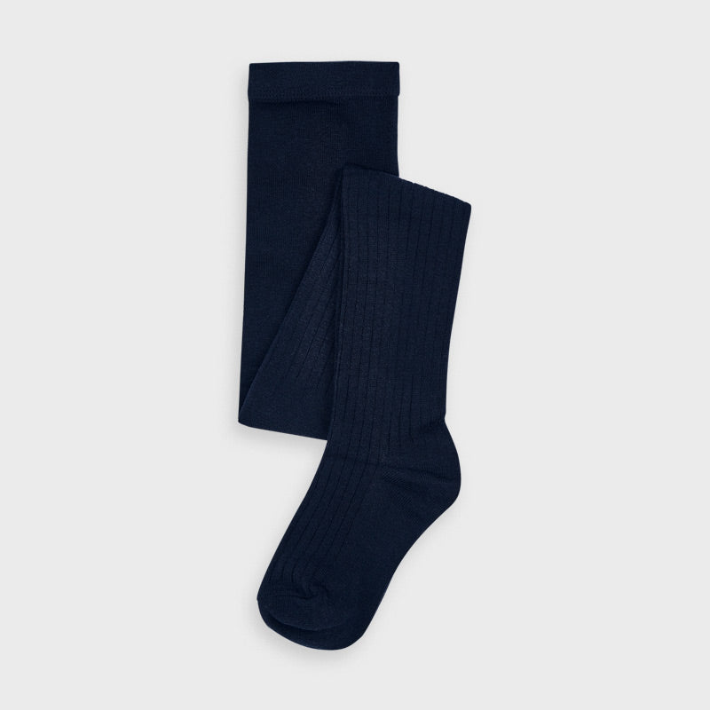 Mayoral | Cable Knit Ribbed Tights | Navy Blue