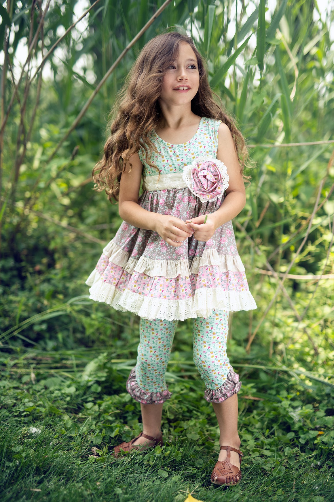 Mustard Pie Rustic Peony Mia Tunic Set for Girls ON MODEL
