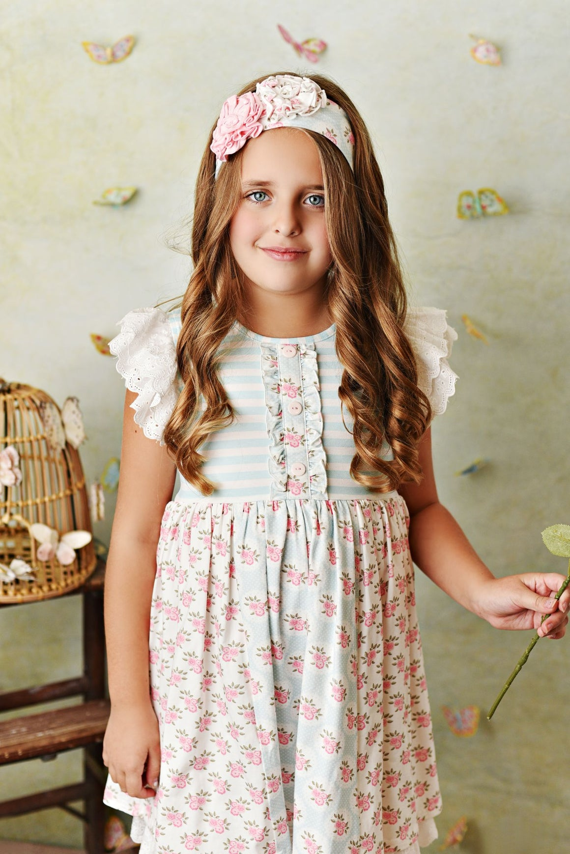Light blue and pink stripe with rose floral print tunic top with flutter lace sleeves, and matching shorties and headband.