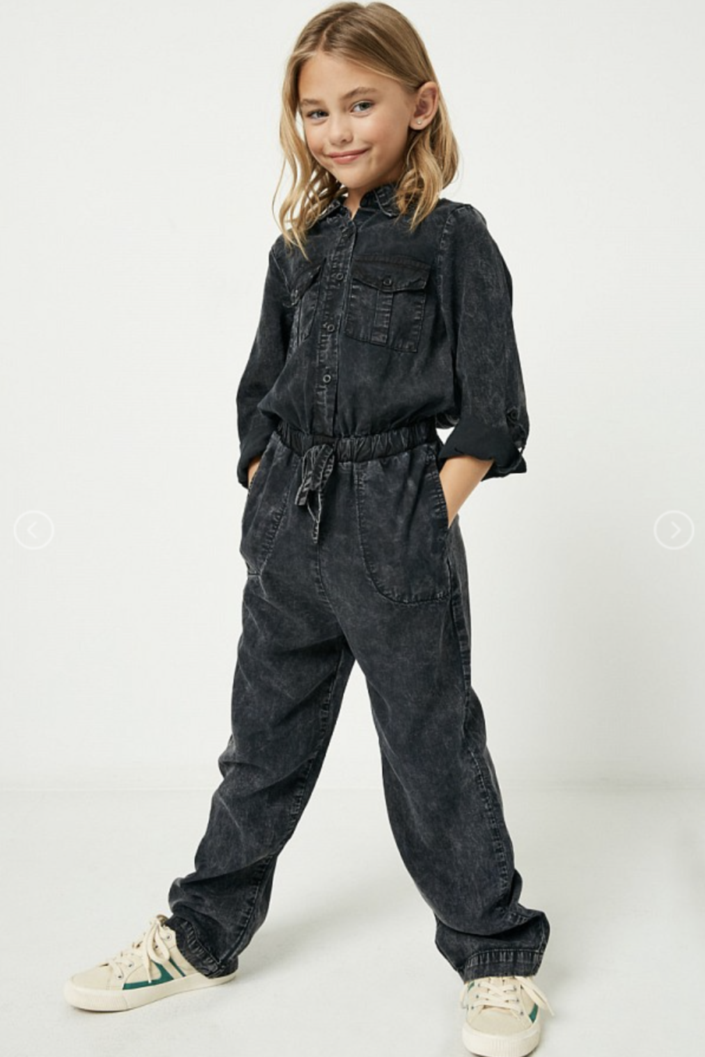 Hayden Girls | Mineral Washed Jumpsuit | Charcoal
