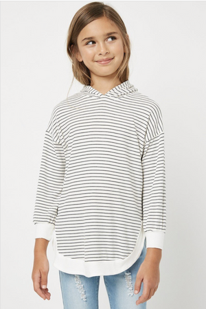 Hayden Girls | Ribbed Stripe Hooded Top