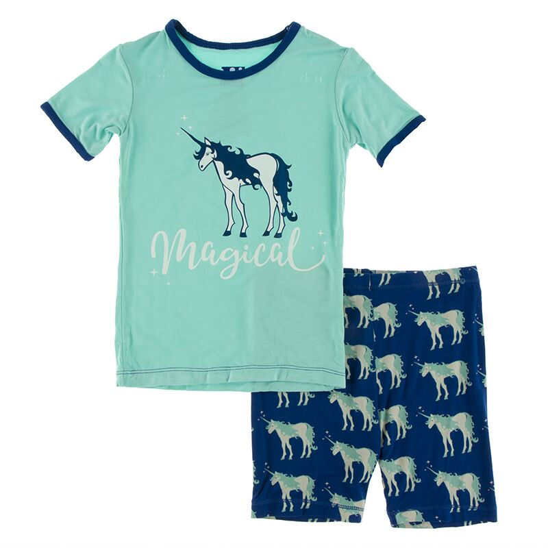 Kickee Pants | Zoology Short Sleeve Pajama Set with Shorts | Flag Blue Unicorns