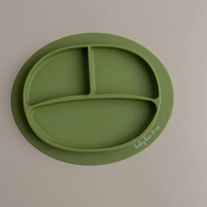 Sili Suction Divided Plate in Army Green. For baby and toddler.100% free BPA, PVC, lead, cadmium & phathalate silicone.