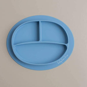 Sili Suction Divided Plate in Slate Blue. For baby and toddler.100% free BPA, PVC, lead, cadmium & phathalate silicone.