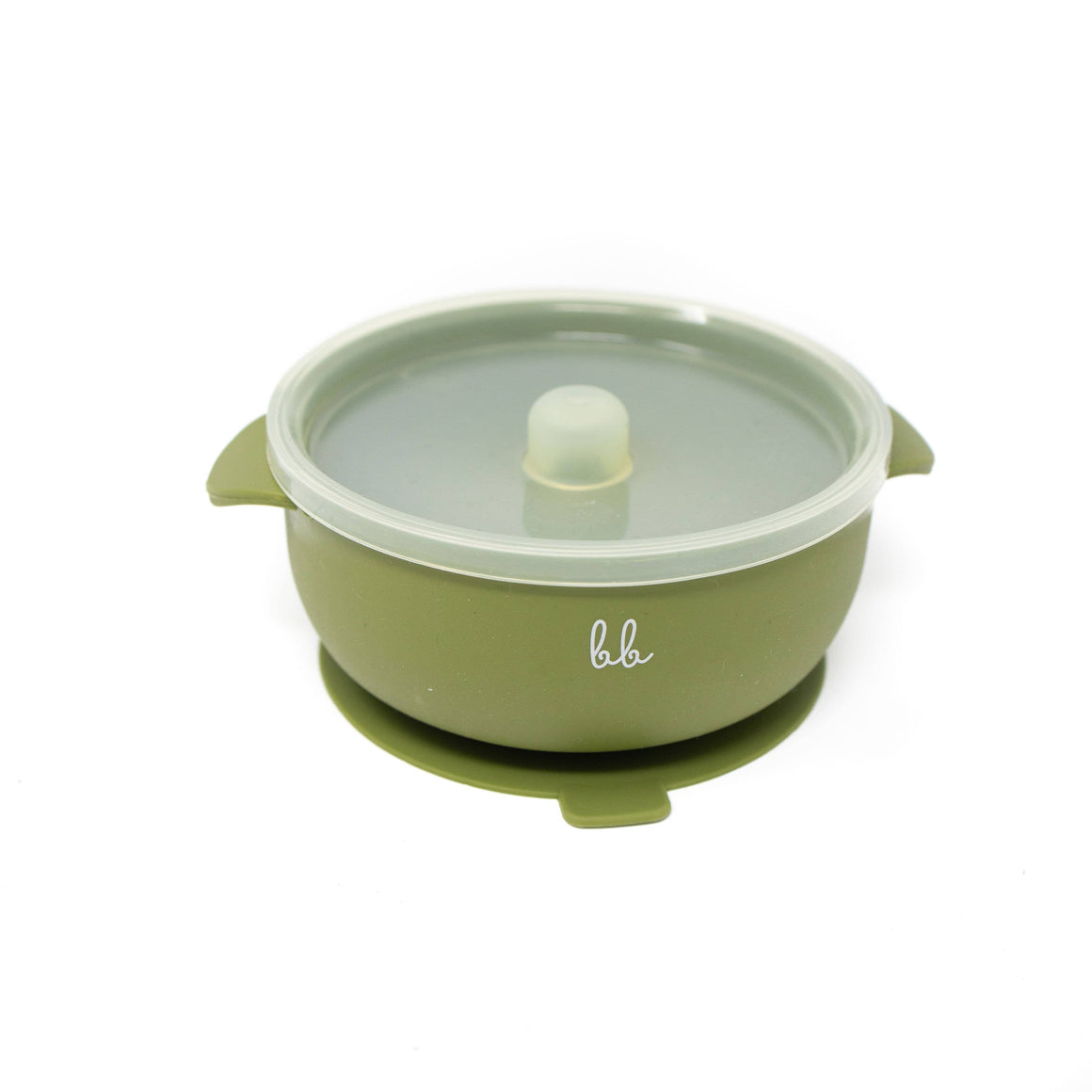 Baby Bar & Co by Three Hearts | Silicone Suction Bowl with Lid | Army Green
