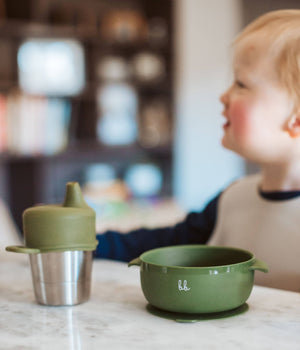 Baby Bar & Co by Three Hearts | Silicone Suction Bowl with Lid | Taupe
