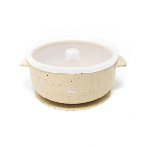 Baby Bar & Co by Three Hearts | Silicone Suction Bowl with Lid | Navajo Beige Speckled