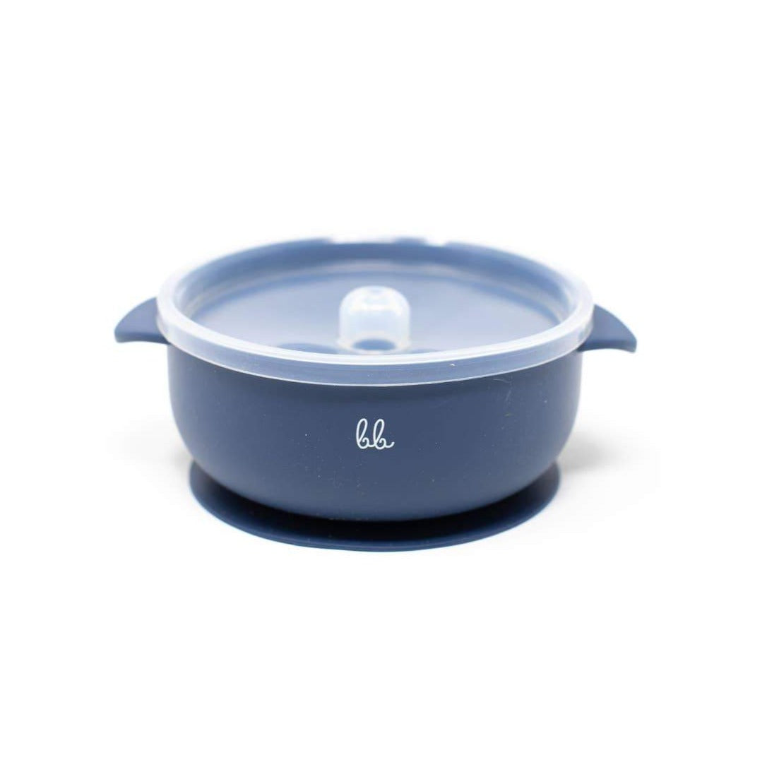 Baby Bar & Co by Three Hearts | Silicone Suction Bowl with Lid | Navy
