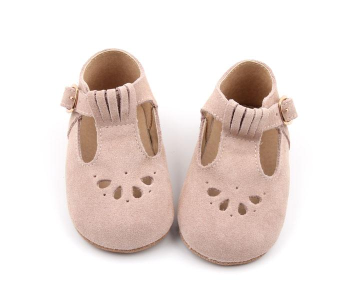 *COMING SOON - Consciously Baby Suede T-Bar in Cappadocia Pink | Baby Soft Sole