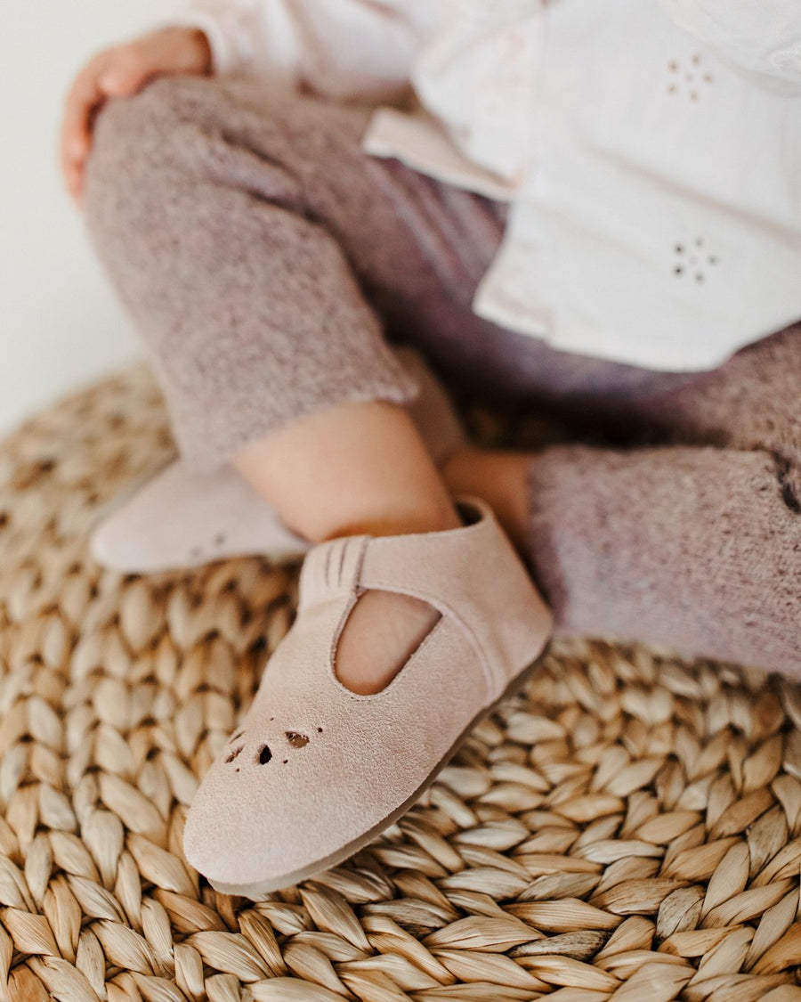 Consciously Baby Suede T-Bar in Cappadocia Pink | Toddler Hard Sole
