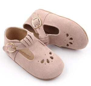 Consciously Baby | Suede T-Bar in Cappadocia Pink | Baby Soft Sole