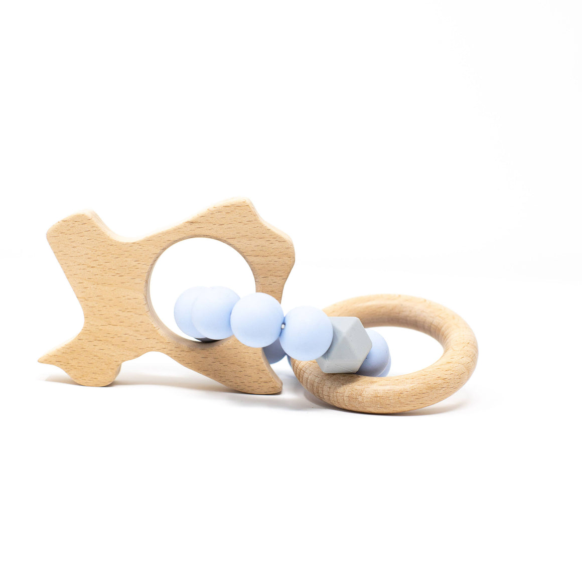 Three Hearts | Texas Wooden Teether Rattle | Baby Blue