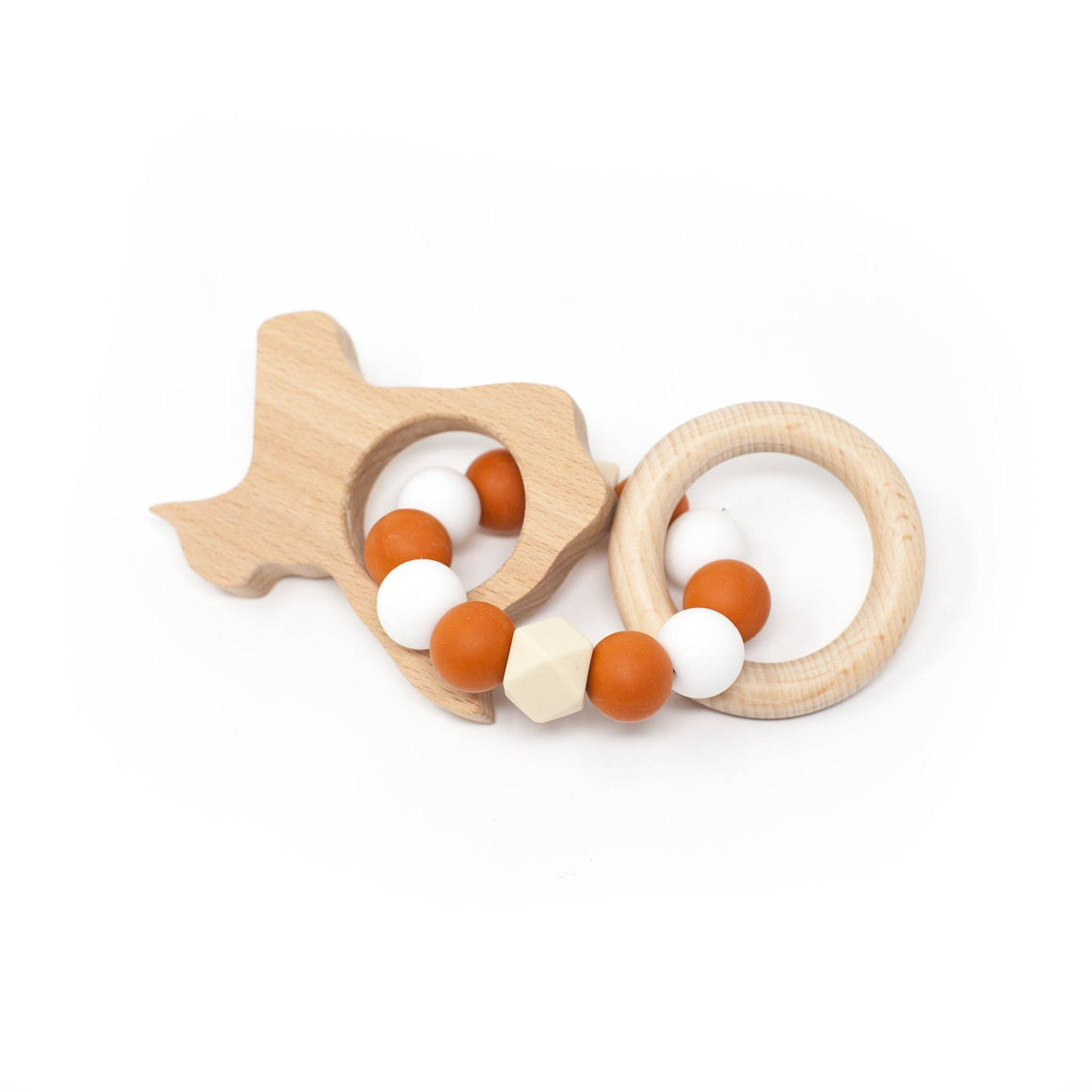 Three Hearts | Texas Wooden Teether Rattle | Burnt Orange