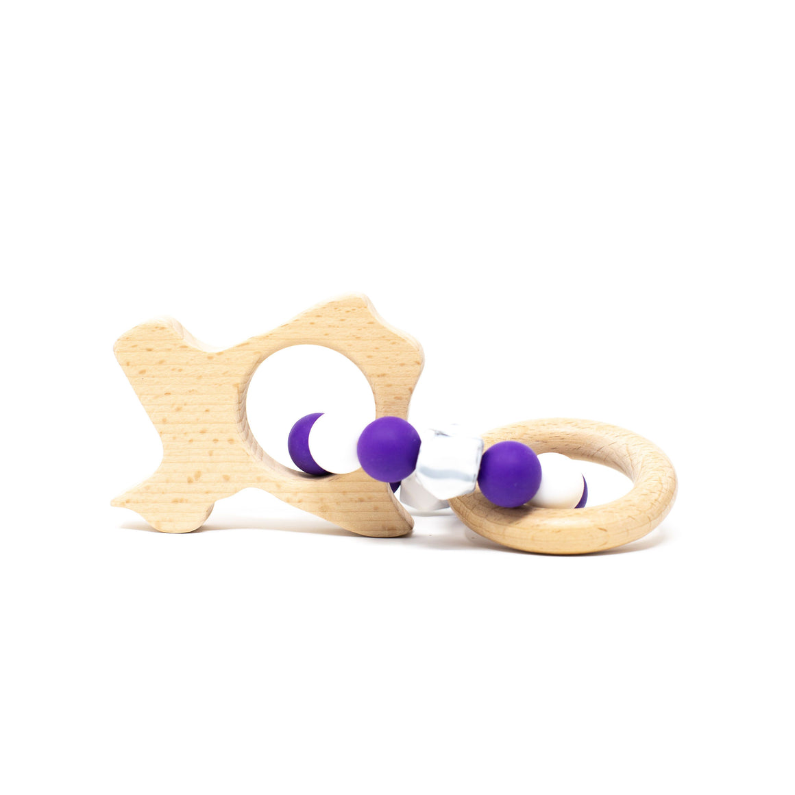 Three Hearts | Texas Wooden Teether Rattle | Classic Purple