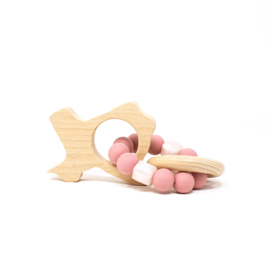 Three Hearts | Texas Wooden Teether Rattle | Dusty Rose