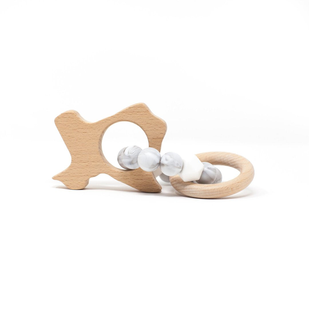Three Hearts | Texas Wooden Teether Rattle | Marble