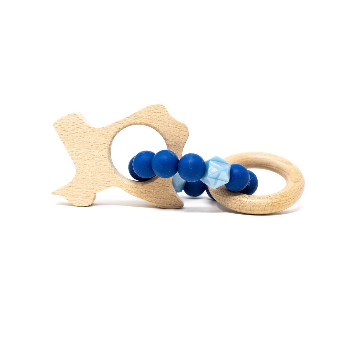 Three Hearts | Texas Wooden Teether Rattle | Sapphire