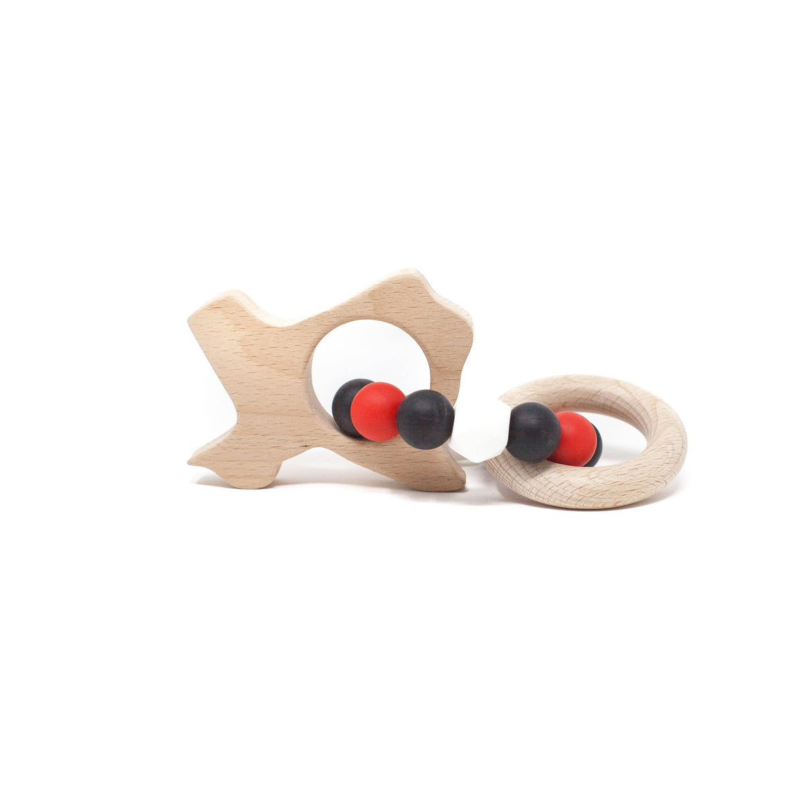 Three Hearts | Texas Wooden Teether Rattle | Scarlet Red