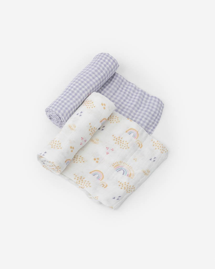 Little Unicorn | Deluxe Muslin Swaddle Blanket Set | Rainbow Gingham