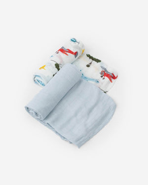 Little Unicorn | Deluxe Muslin Swaddle Blanket Set | Air Show Set