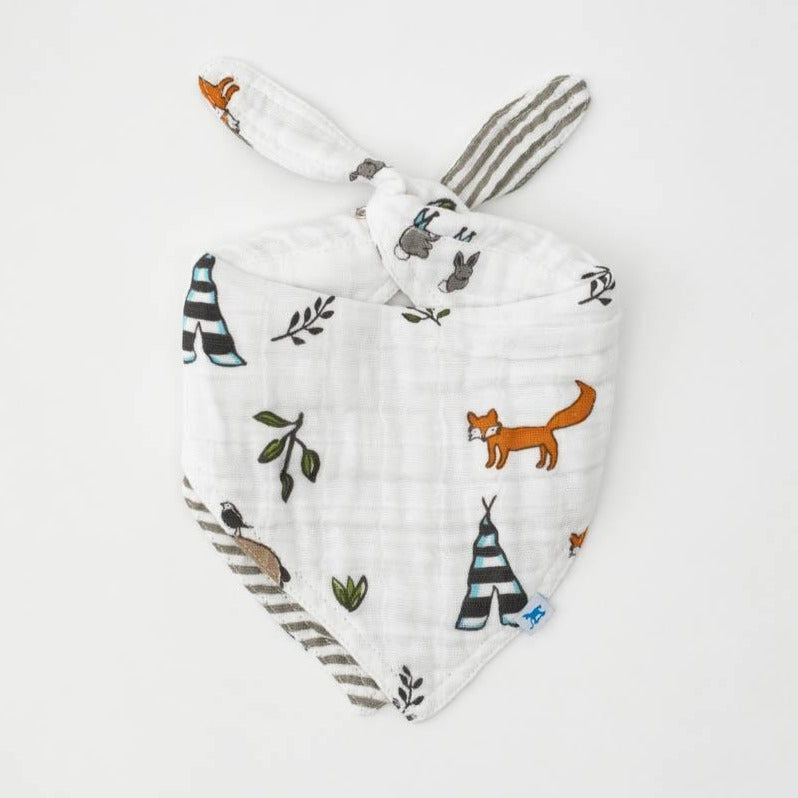 baby's muslin double sided bandana bib with forest friends and grey stripe prints