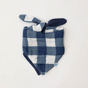 baby boys reversible cotton muslin bandana bib in navy plaid