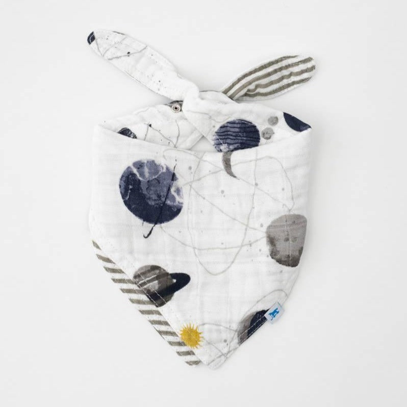 baby boys reversible cotton muslin bandana bib in planets and grey stripe print