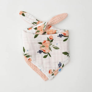 Little Unicorn | Cotton Muslin Reversible Bandana Bib | Watercolor Roses