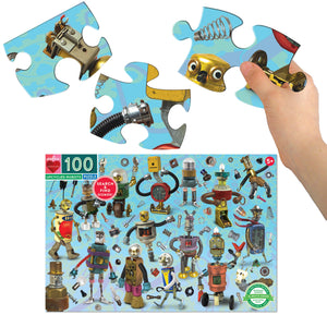 eeboo | 100 Piece Search and Find Puzzle | Upcycled Robots