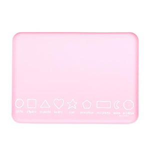 Wonder Trays from Bella Tunno, a multi use non slip table top tray for eating, drawing, play and more. Shapes themed in light pink.