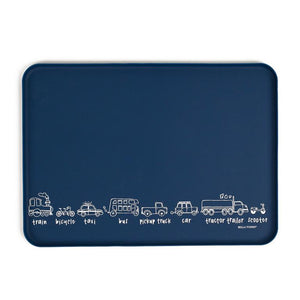 Wonder Trays from Bella Tunno, a multi use non slip table top tray for eating, drawing, play and more. Transportation themed in navy blue.