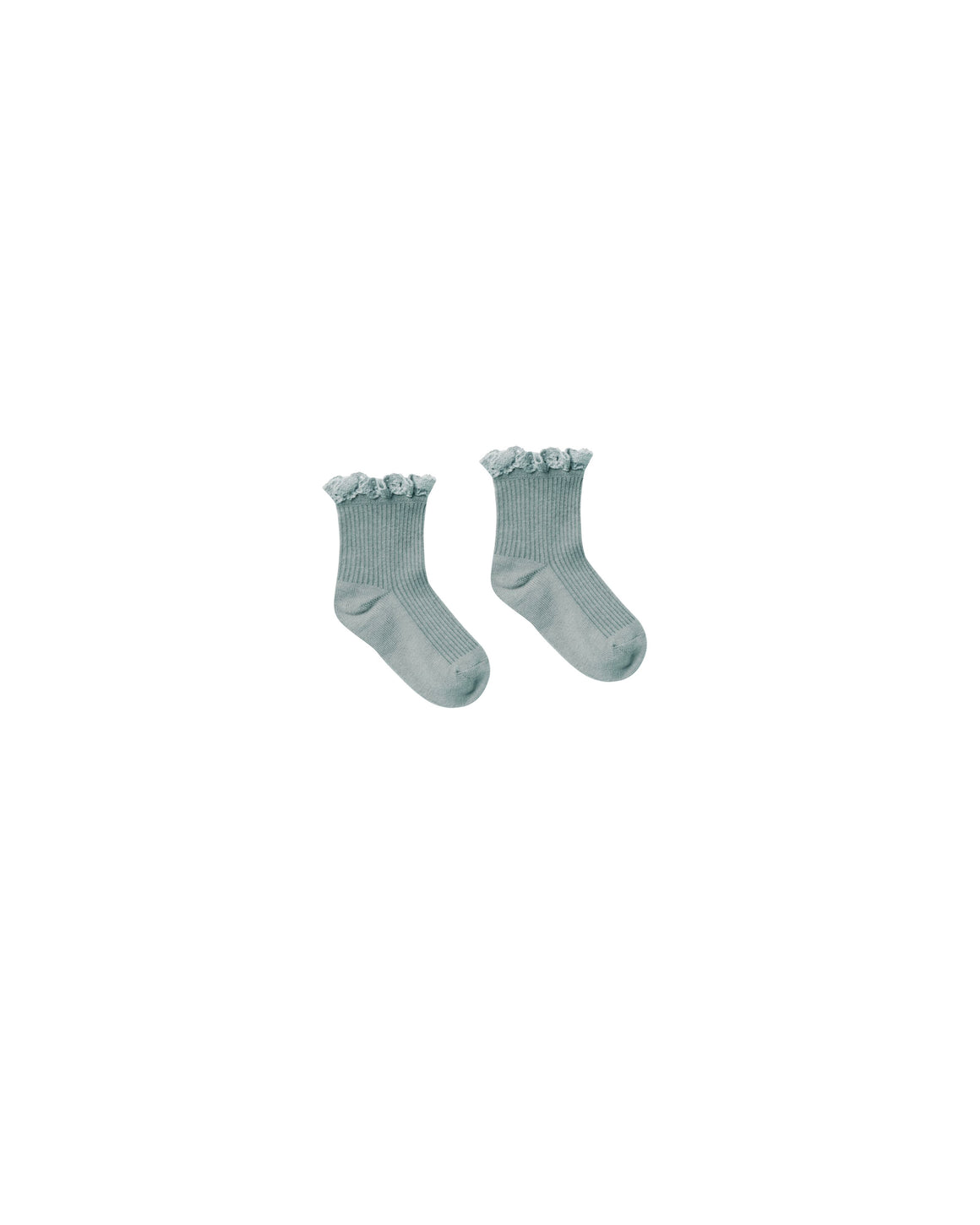 Children's lace trim ruffle ankle socks in sea blue