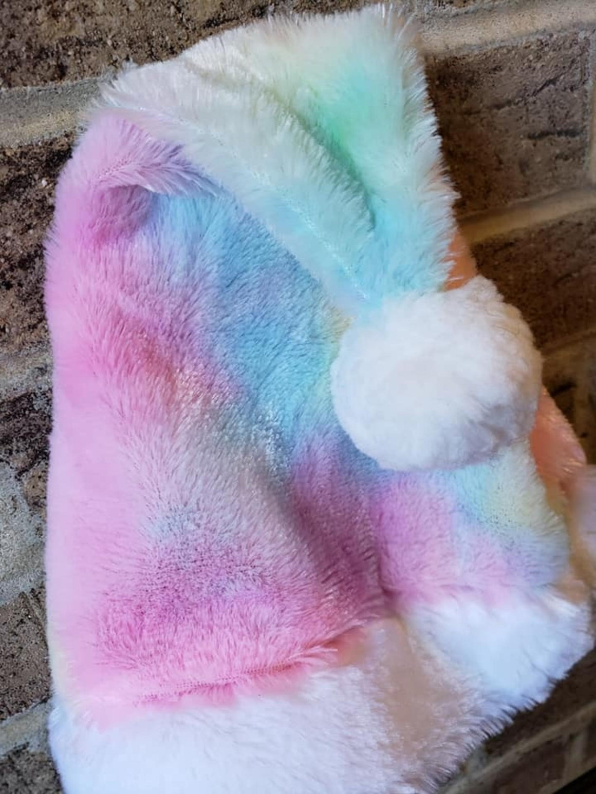 Santa Hat | Plush Tie Dye Rainbow Faux Fur