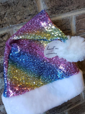 Santa Hat | Rainbow Sequin