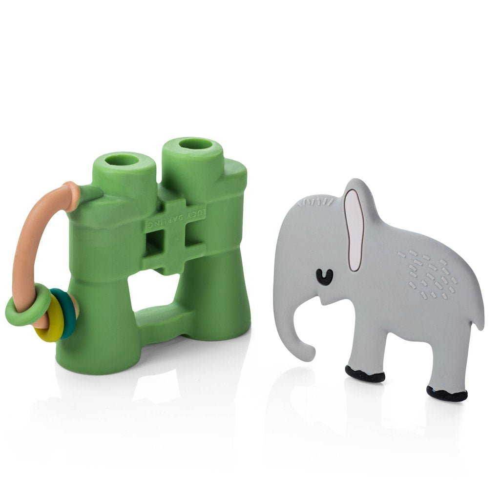 Silicone Little Animal Lover teether set. Includes two teethers, binoculars with rattle and elephant. For baby. From Lucy Darling.