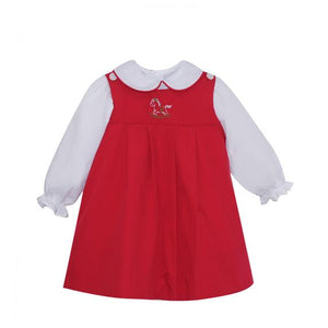 Red Rocking Horse Embroidered Dress (NEW)