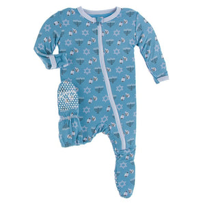 Kickee Pants | Winter Celebrations Zipper Footie | Blue Moon Hanukkah (NEW)