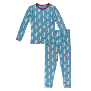 Kickee Pants | Winter Celebrations Long Sleeve Pajama Set | Blue Moon Ice Skater (NEW)