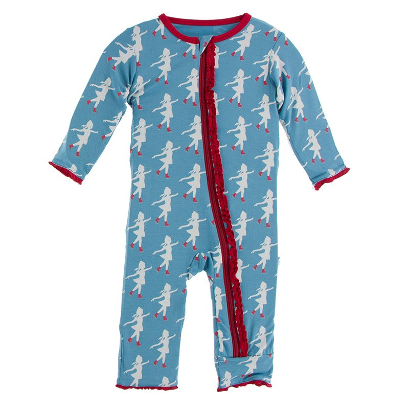 Kickee Pants | Winter Celebrations Zipper Muffin Ruffle Coverall | Blue Moon Ice Skater (NEW)
