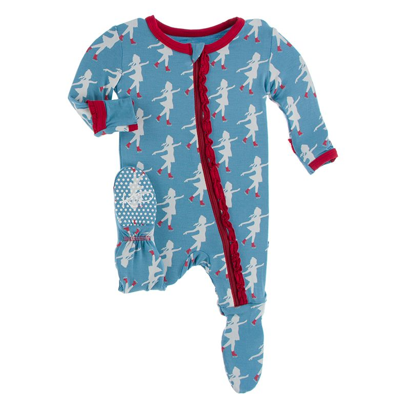 Kickee Pants | Winter Celebrations Zipper Muffin Ruffle Footie | Blue Moon Ice Skater