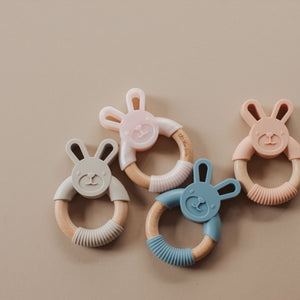Three Hearts | Bunny Ear Silicone Wooden Teether | Dusty Pink