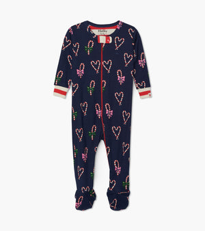 Hatley | Candy Cane Hearts Organic Cotton Footed Coverall