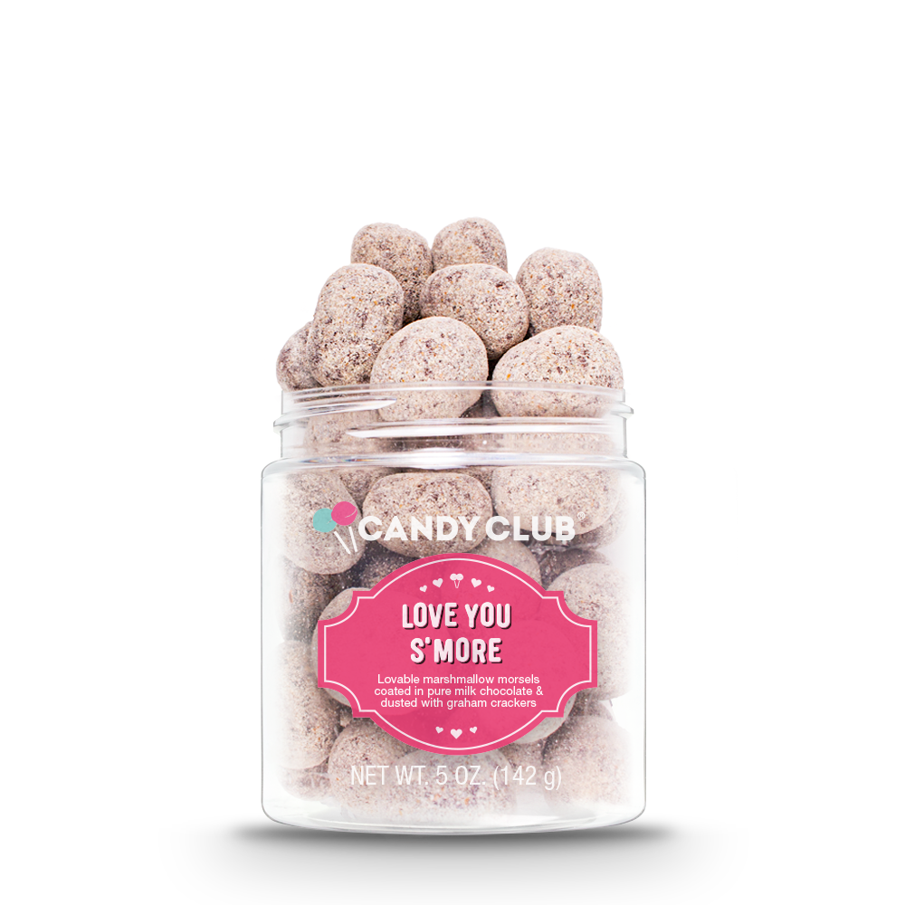 Candy Club Love You S'more -- lovable marshmallow morsels coated in pure milk chocolate and dusted with graham crackers