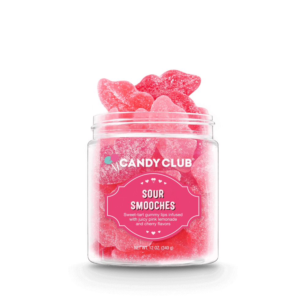 Candy Club Sour Smooches - sweet tart gummy lips infused with juicy pink lemonade and cherry flavors